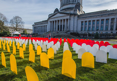The Safer Homes Memorial in front of the Washington State Capitol, displaying the toll of suicide losses in 2015. Color-coded mock headstones represent suicide deaths by different lethal means.